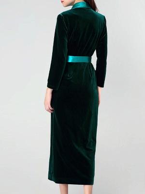 Dark Green Casual Pockets Coat_4