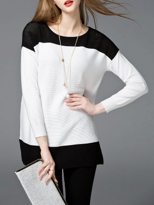 White Cotton Solid Long Sleeve Sweater_1