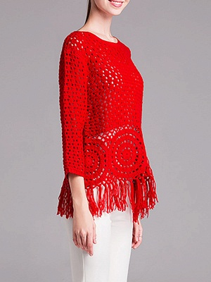 Red Geometric Shift Long Sleeve Sweater_6