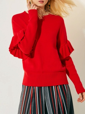 Red Casual Paneled Solid Crew Neck Sweater_6