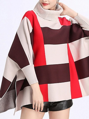 Elegant Shift Batwing Color-block Sweater_1