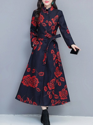 Printed Stand Collar Buttoned Pockets A-line Coat_1