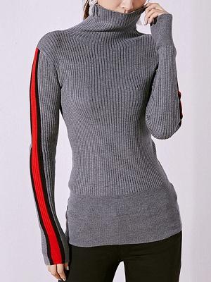 Solid Casual Sheath Long Sleeve Sweater_8