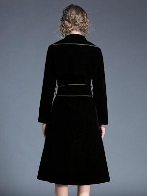 Black Work Lapel Shift Pockets Long Sleeve Coat_3
