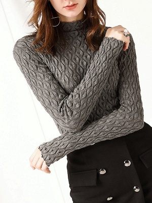 Stand Collar Casual Long Sleeve Wool Cable Sweater_3
