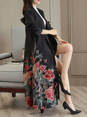 Casual Long Sleeve Pockets Floral-print A-line Coat_6
