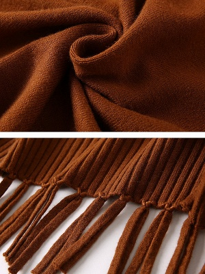 Turtleneck Long Sleeve Elegant Solid Fringed Sweater_6