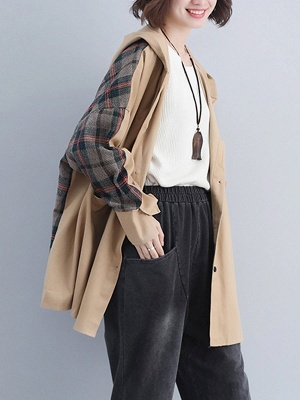 Checkered/Plaid Pockets Hoodie Batwing Coat_3