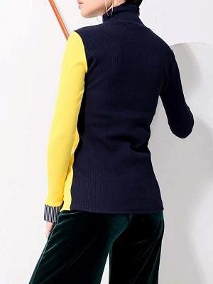Multicolor Stand Collar Paneled Statement Sheath Sweater_3