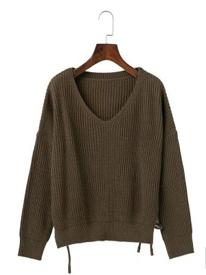 Cotton Casual Crew Neck Long Sleeve Shift Sweater_3