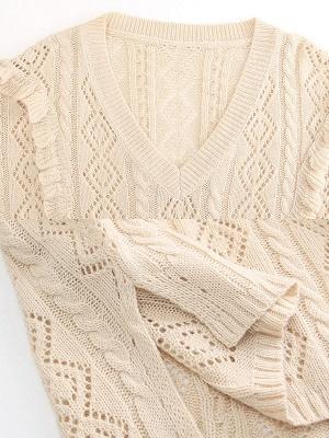 Apricot V neck Long Sleeve Geometric Cutout Sweater_6
