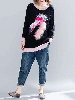 Black Long Sleeve Crew Neck Animal Paneled Sweater_4