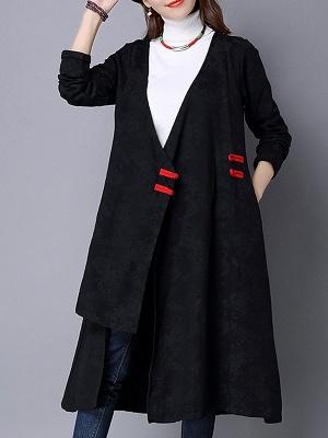 Linen Sleeveless A-line Casual Jacquard Coat_2