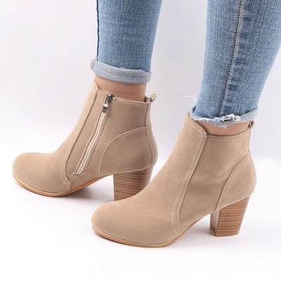 Suede Chunky Heel Zipper Daily Round Toe Boot_7