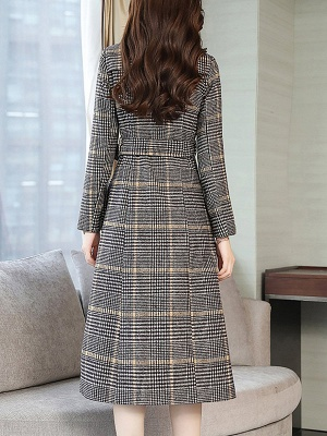 Gray Checkered/plaid Buttoned Work Stand Collar Coats_3