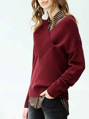 Long Sleeve Shift Casual V neck Solid Sweaters_7
