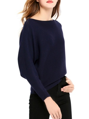 Slash Neck Batwing Simple Solid Sweater_14