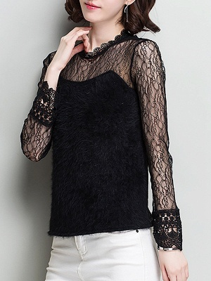 Wool Casual Long Sleeve Sweater Lace Mesh Knitted Top_2