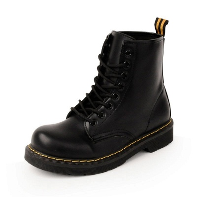 Chunky Heel Lace-up Round Toe Boots_5