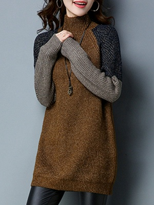 Long Sleeve Casual Intarsia Knitted Turtleneck Sweater_1