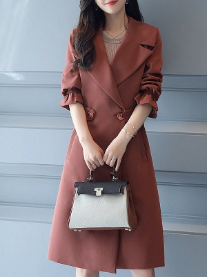 Bell Sleeve Casual Solid A-line Lapel Pockets Buttoned Paneled Coat_2
