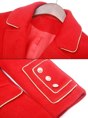 Red Buttoned Solid Work Pockets Lapel Coat_6