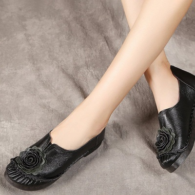 Flower Round Toe Casual Leather Loafers_8