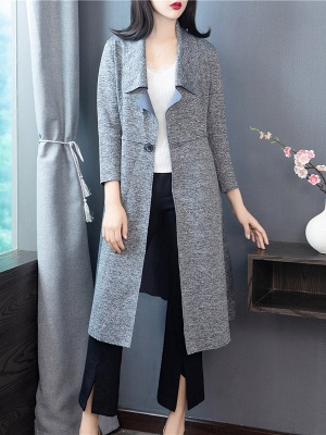 Gray Long Sleeve Casual Shawl Collar Cotton Solid Buttoned Coat_1