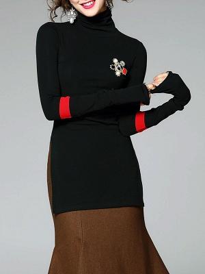 Army green Turtleneck Slit Long Sleeve Cotton Sweater_6