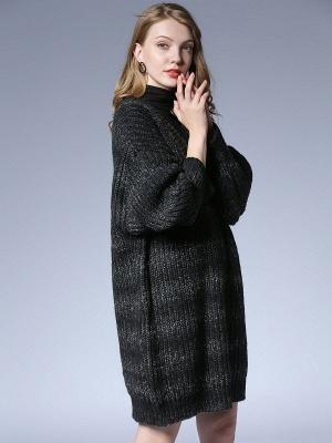 Knitted Casual Long Sleeve Shift Sweater_6