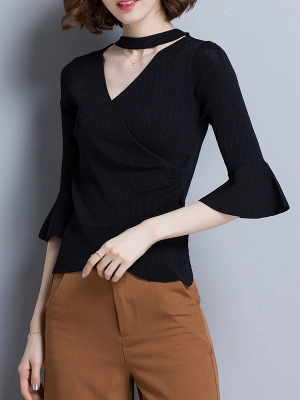 Shift Casual Solid Frill Sleeve Knitted Sweater_10
