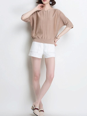 Ice Yarn Knitted Shift Casual Batwing Sweater_10