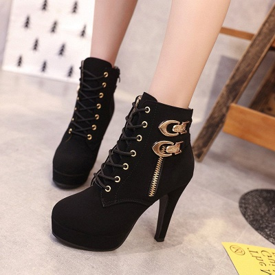 Daily Lace-up Chunky Heel Round Toe Buckle Stiletto Heel Boots_2