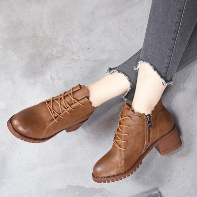 Chunky Heel Zipper Round Toe Lace-up Boots_5