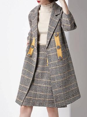 Gray 3/4 Sleeve Pockets Houndstooth Lapel Coat_7