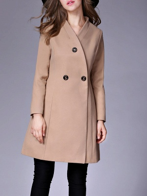 Casual Buttoned Solid Long Sleeve Coat_2