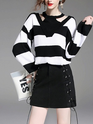 Black-white Crew Neck Shift Long Sleeve Solid Sweater_4
