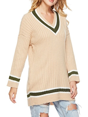 Casual Ribbed Solid Long Sleeve Sweater_7