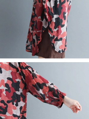 Camouflage Casual Long Sleeve Abstract Shift Printed Coat_5