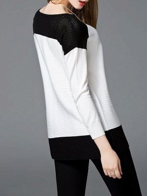 White Cotton Solid Long Sleeve Sweater_3