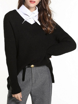 Casual Long Sleeve Knitted V neck Sweater_4