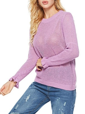 Pink Shift Frill Sleeve Casual Crew Neck Solid Sweater_4
