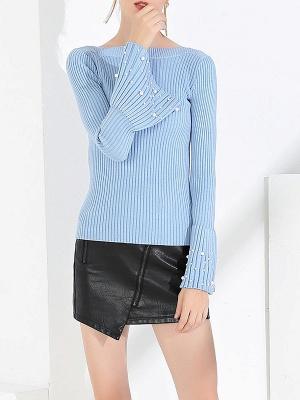 Frill Sleeve Casual Bateau/boat neck Sheath Sweater_4