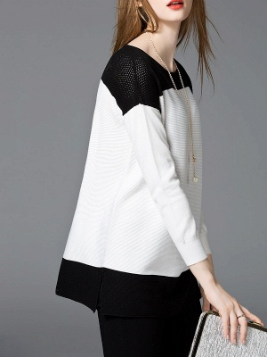 White Cotton Solid Long Sleeve Sweater_6