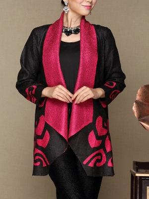 Rose Shawl Collar Long Sleeve Asymmetrical Crinkled Color-block Coat_7