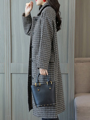 Black Houndstooth Casual Coat_6
