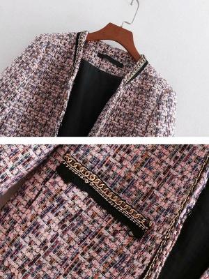 Pink Casual Shift Crew Neck Long Sleeve Paneled Pockets Coat_5