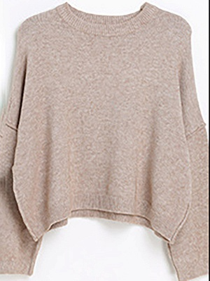 Casual Paneled Long Sleeve Solid Crew Neck Sweater_2