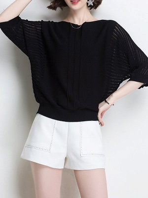 Ice Yarn Knitted Shift Casual Batwing Sweater_3