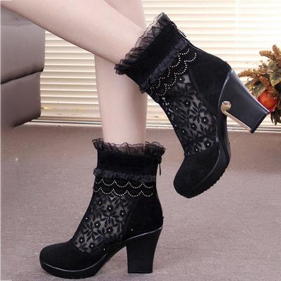 Lace Black Beading Suede Platform Winter Boots_1